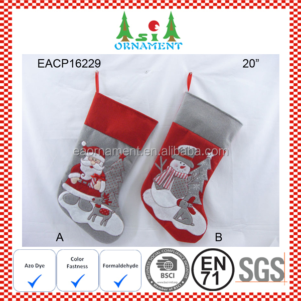 Grey and red felt christmas stockings