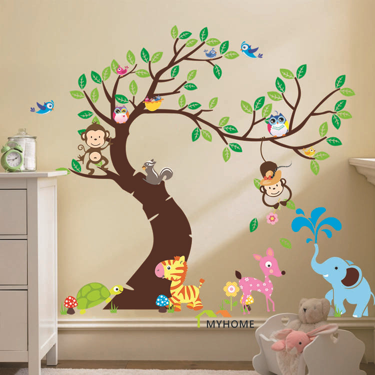 4 Cute Monkeys Wall Decals Sticker Nursery Decor Mural: Oversize Cartoon Animal Monkey On Tree Wall Decal Baby