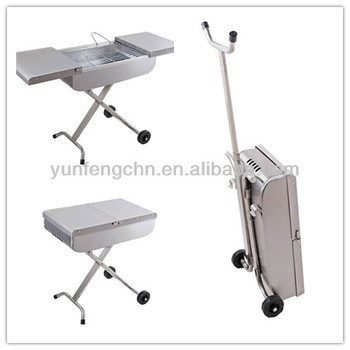 Stainless steel trolley BBQ grill