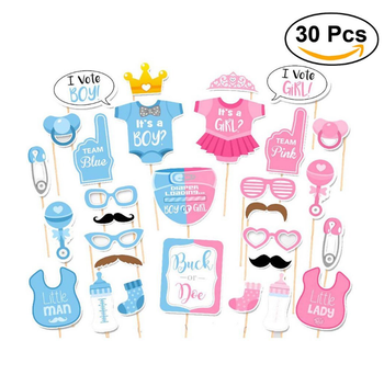 Girls Boys Baby Shower Birthday Party Gender Reveal Photo Booth Props On  Sticks Set Decorations For Party Favors 30 -pack - Buy Girls Boys Baby
