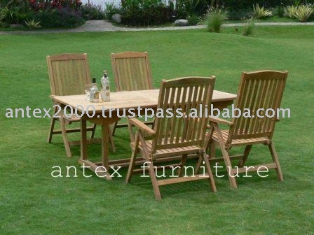 Teak garden and Outdoor Furniture: Rectangular Table and Arm Chair 5 Position