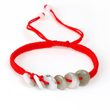Green Round Polyester & Jade Kabbalah Red String Braided Friendship Bracelets