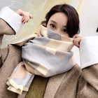 Winter women plain knitted shawls thick cashmere scarf wholesale