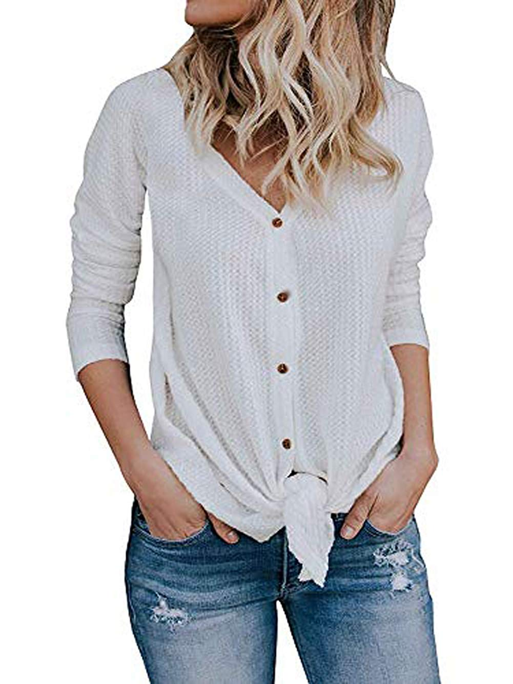 f6a4e055ae4 Get Quotations · Macr&Steve/Esgent Women's Casual Button Down Knit Pullover  Sweaters Shirts Tunic Blouse Knitwear Tops