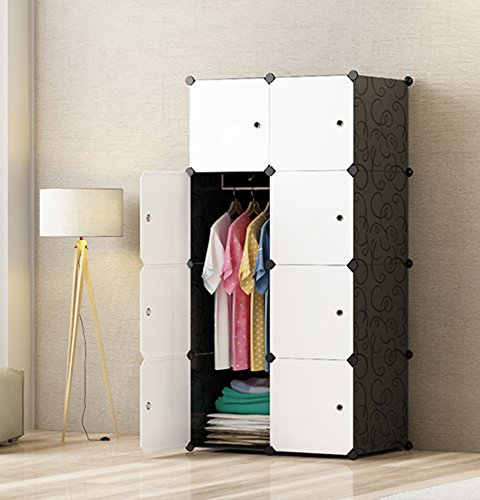 MEGAFUTURE Portable Wardrobe for Hanging Clothes, Combination Armoire, Modular Cabinet for Space Saving, Ideal Storage Organizer Cube for books, toys, towels(8-Cube)