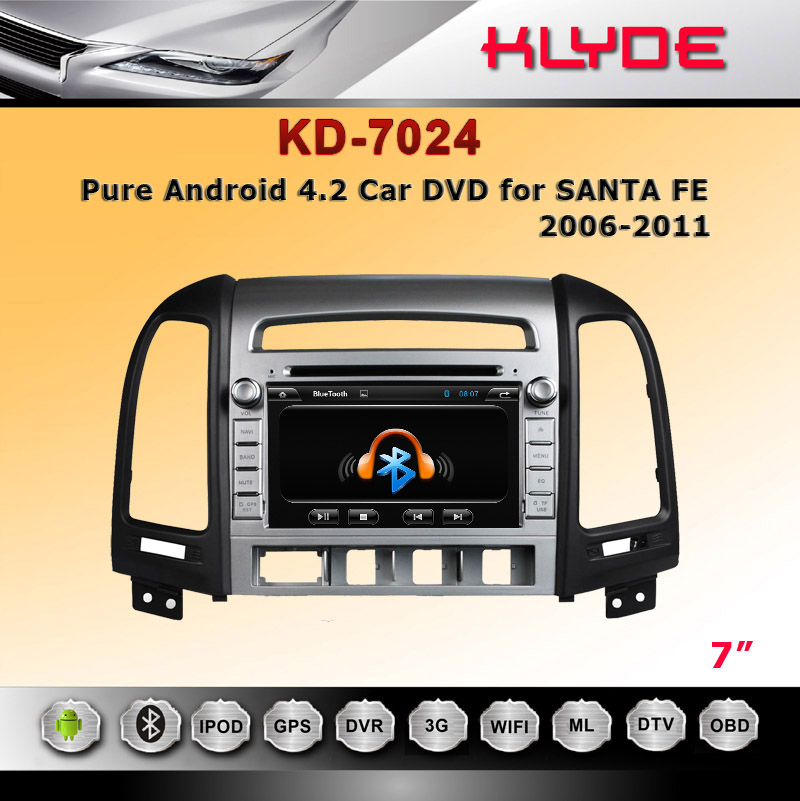 CE Rohs FCC For Santa Fe RDS Radio Car Multimedia Navigation System