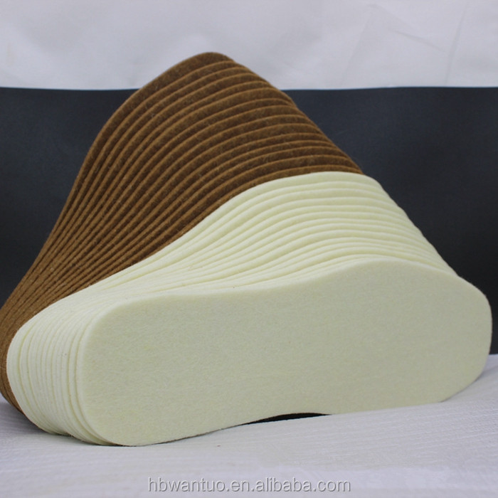 Factory directly selling high quality fiber insole board pure wool felt shoe insole
