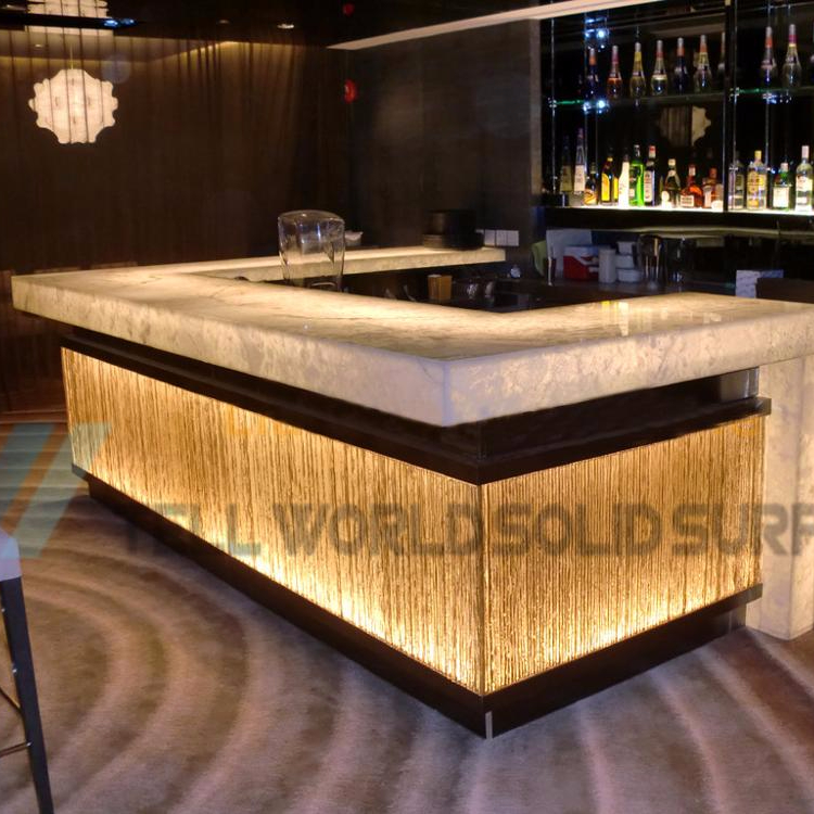 Casino lit bar counter interactive french style bar counter