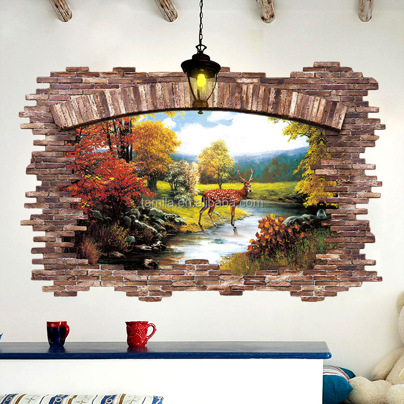 3D Brick wall deer window sticker bathroom wall tile stickers for kids