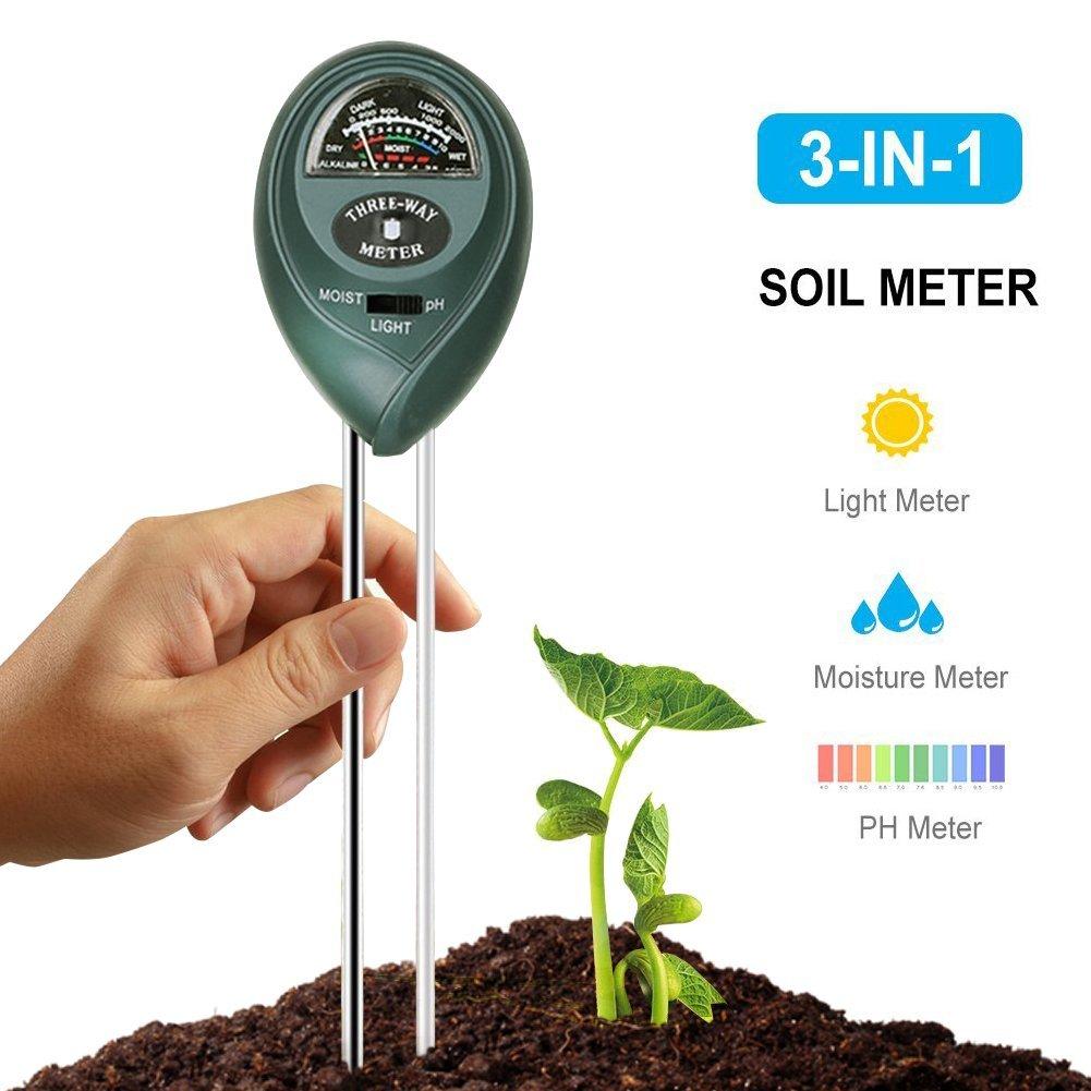 3-in-1 Soil Tester Moisture Meter,Water Plant Soil pH Meter Soil Tester Kit Light and PH acidity Tester For Garden,Farm,Lawn,Indoor & Outdoor (No Battery needed)