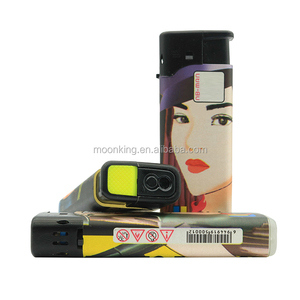 new design factory price novelty wrap paper refillable electronic windproof cigarette lighter