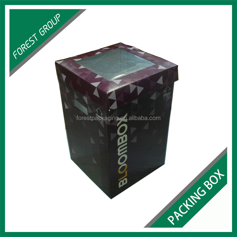 CHINA FACTORY DIRECTLY SUPPLY CORRUGATED FLOWER PACKING CARTONS WITH CLEAR PVC WINDOW