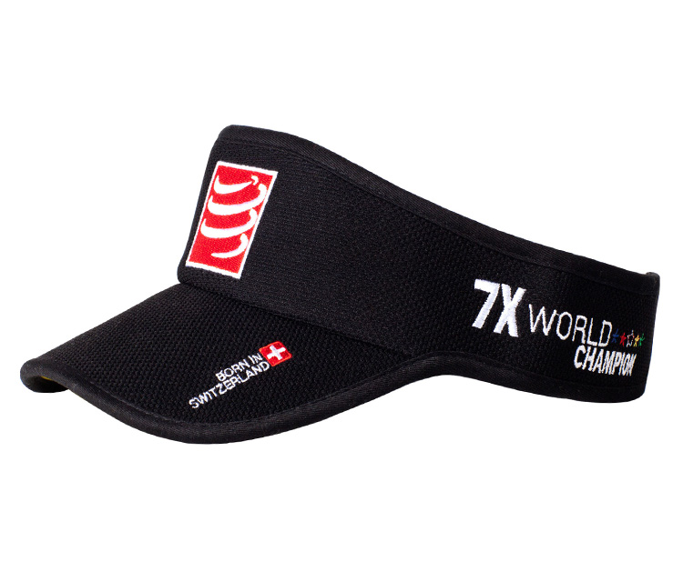 breathable mesh dry fit black custom embroidery logo running sports sun visor caps