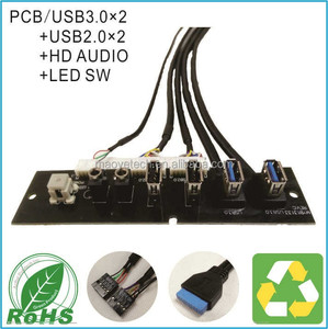 MY13133 PC Computer Case Front Panel mounted cable USB 3.0 + USB 2.0 Audio Port Mic Earphone Motherboard Cable