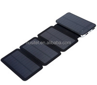 4 panels single silicon Solar Power bank R5-MAX 1.5w/ 3w/ 6w foldable 10000mah leather solar power bank mobile charger