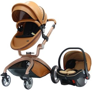 Luxury european style baby pram 3 in 1 Leather fabric Baby Stroller 2 in 1 with carrycot and car seat