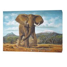BC13-7088 High quality Abstract Handmade African animal wild elephantart canvas oil painting with frame