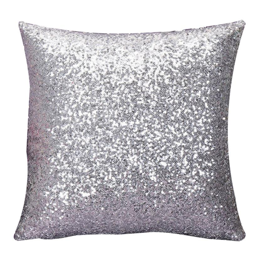 super deal 2016 solid color glitter sequins throw pillow case cafe home covers coussin throw