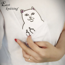 EAST KNITTING H149 Cat Pocket Women T-shirt Summer Style Tee Harajuku Women Tops Plus size 4XL