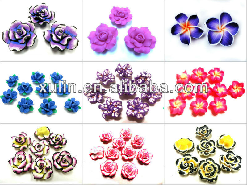 XULIN wholesale red color plumeria bead polymer clay flower