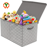 Wholesale Custom Stackable Fabric Chevron Collapsible Storage Box with Lid