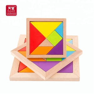 Children educational classic colorful seven piece wooden tangram puzzle for kids 3+