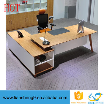 High Quality Wood Office Furniture L Shape Table Director Design