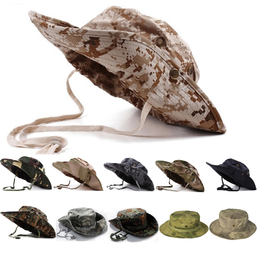 7458a289cc4 Get Quotations · Unisex Tactical Military Camouflage Boonie Caps Nepalese Hats  Army Mens Accessories Outdoor Casual Hat