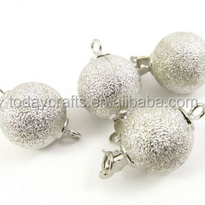 12mm diameter sterling silverToned One-Strand Ball Shaped Box Clasp