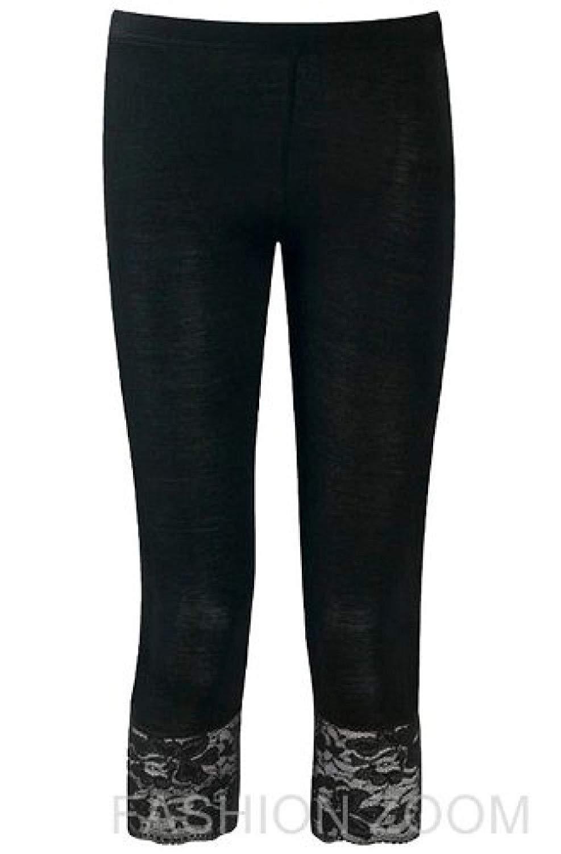 b331f89603539c Get Quotations · Womens Plus Size Stretch 3/4 Lace Trim Cotton Lace Leggings
