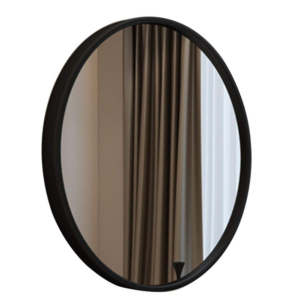 Makeup Mirror Creative Round Makeup Mirror Dressing Table Round Mirror Bedroom Mirror Bathroom Mirror Wall Mounted Round Mirror (Color : Black, Size : Diameter 60cm (24 inches))