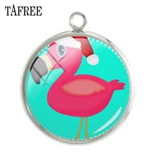 TAFREE DIY модный брелок аксессуары мультфильм Фламинго фото 20 мм металлический браслет для изготовления шармов ожерелье стеклянные купольные ...(Китай)
