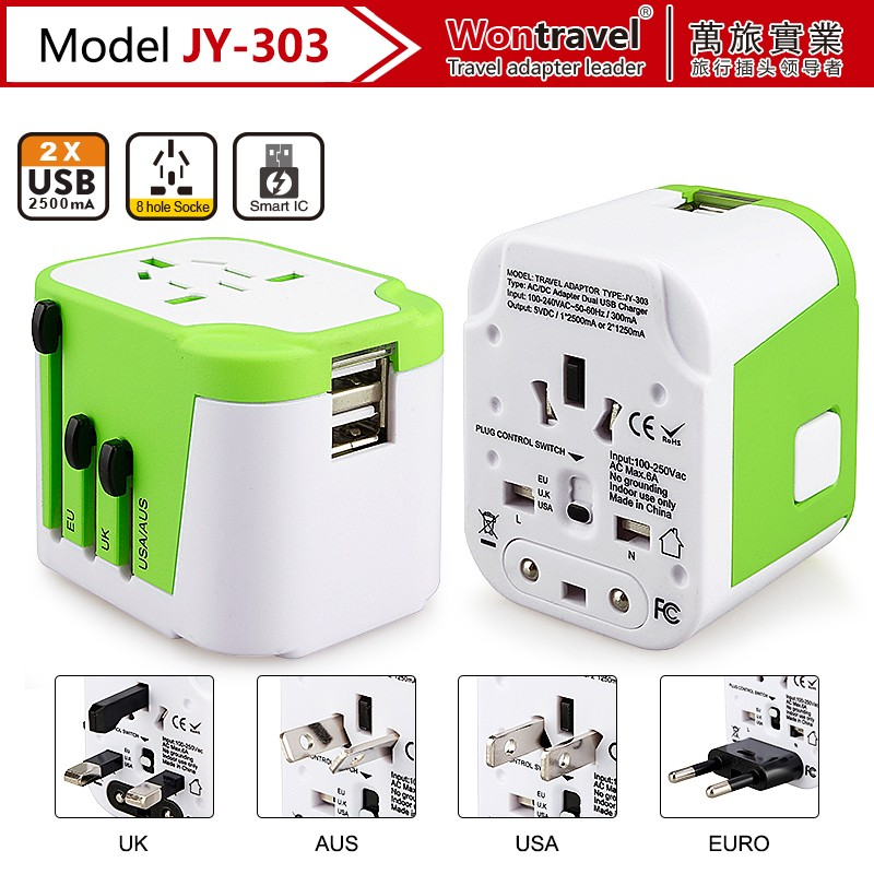 JY-303 Wontravel Necessary Traveling Adapter,Electrical USB Plug Connector With 5V 2.5A Works in 150 Countries
