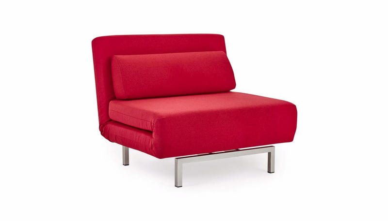 Funky Red Microfiber Reclining Small Single Fold Out Sofa Bed With