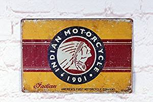 Yours Dec Metal Tin Sign INDIAN MOTORCYCLE 1901, Metal Vintage Tin Sign , Retro Vintage Decor Tin Sign 8inch