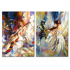 Abstract Canvas Painting The Girl Playing the Cello Canvas Prints Love Violin Music Oil Painting Printed on Canvas 2 Panels