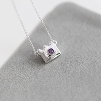 Fine jewelry 100% 925 Sterling Silver camera charm necklace