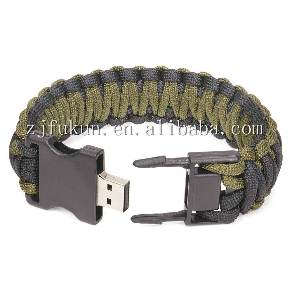 550 paracord weave bracelet with usb memory buckle outdoor survival bracelet