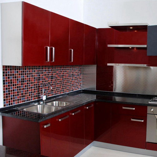 Red High Gloss Kitchen Cabinet Door