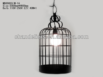 Black Wrought Iron Bird Cage Chandelier Art