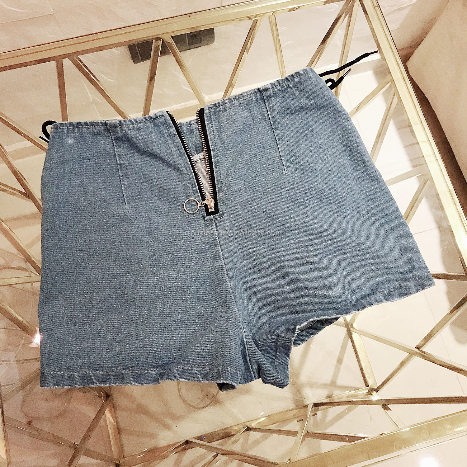 New European and American summer women's denim shorts sexy high waist hole
