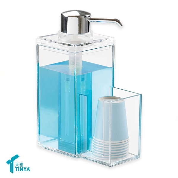 wholesale Counter Kitchen Dishwashing Bathroom Pump Bottle Rectangle Acrylic Soap Dispenser Clear Soap Lotion Liquid Dispenser