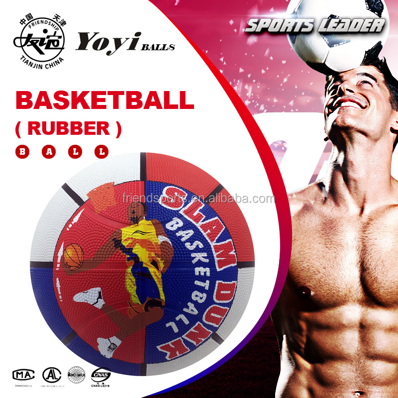 multi colored hot sell size 7 standard official rubber basketball for school training