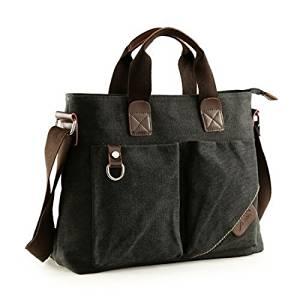 Vintage Canvas Messenger Bag Case Casual Bags Shoulder Laptop Bag School bags Attache case for Men Young People Student - Black