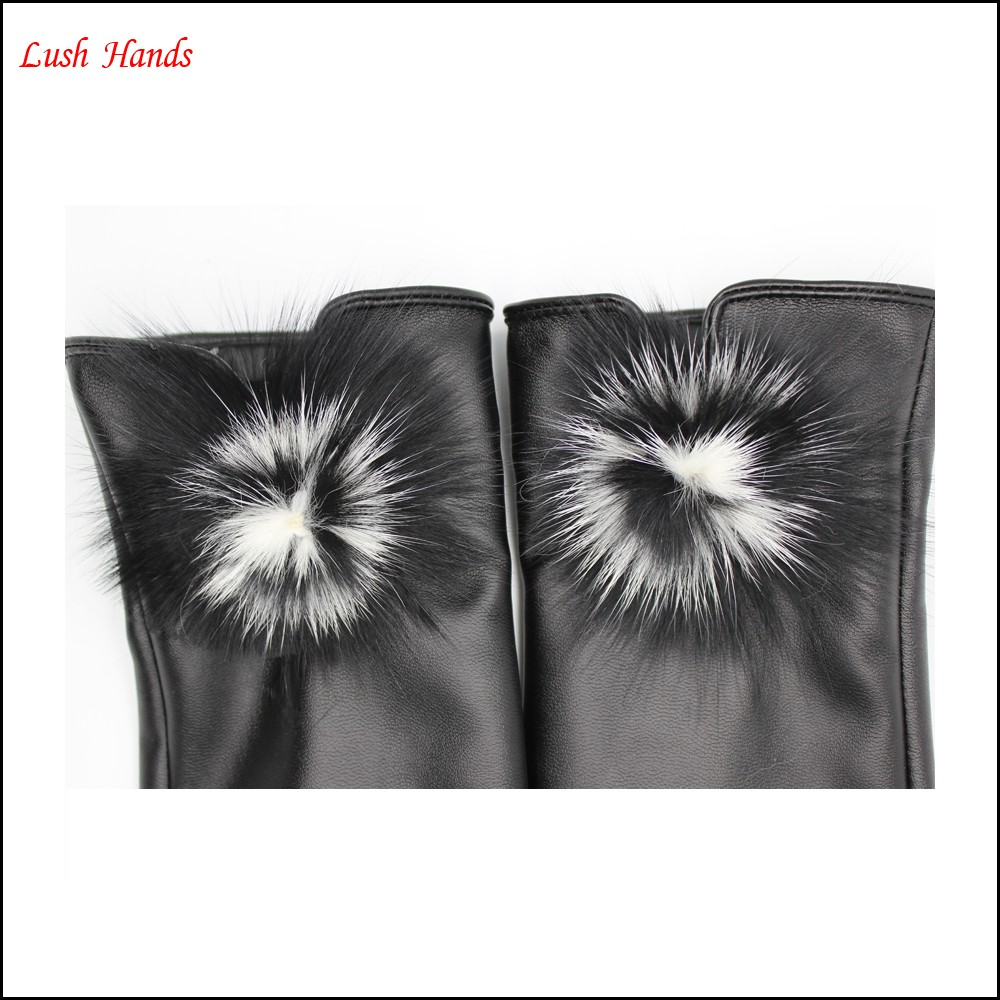 Wholesale cheap gloves china gloves factories Fahion ladies Pu leather glove with True hairball