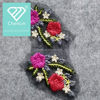 Custom good quality colorful embroidery flower sew on patch applique