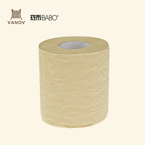 Eco-friendly unbleached bamboo toilet paper customized logo printing standard roll brown color