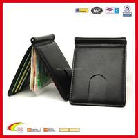 Promotional RFID Blocking Credit Card Holder PU Leather Money Clip with Stainless Steel