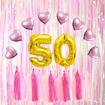 50th Happy Birthday Decoration Gold Foil Balloons Anniversary Party Supplies
