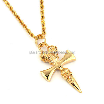 New professional design fashion style custom logo men jewellery new professional design fashion style custom logo men jewellery stainless steel gold skull cross pendant p619 mozeypictures Image collections